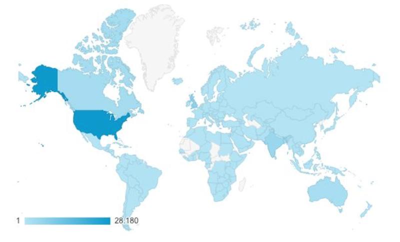 Provenienza geografica degli utilizzatori nel 2016
