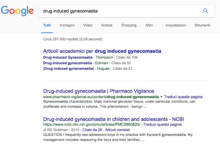 "La pagina di ricerca in Google su ""drug induced gynecomastia"""