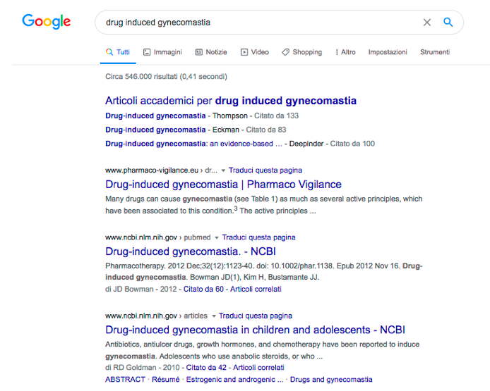 "Ricerca di ""drug induced gynecomastia"" in Google"